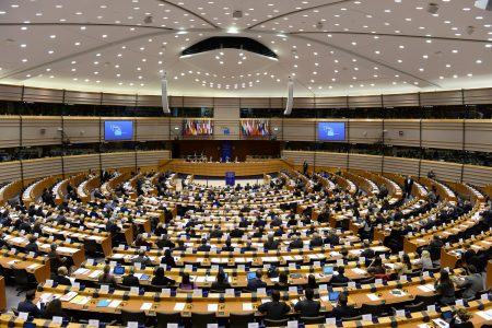 General view of the European Parliament hemicycle in Brussels